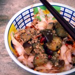 to bak-chor (minced meat) kuay-teow (flat rice noodles) with eggplants in chilli...