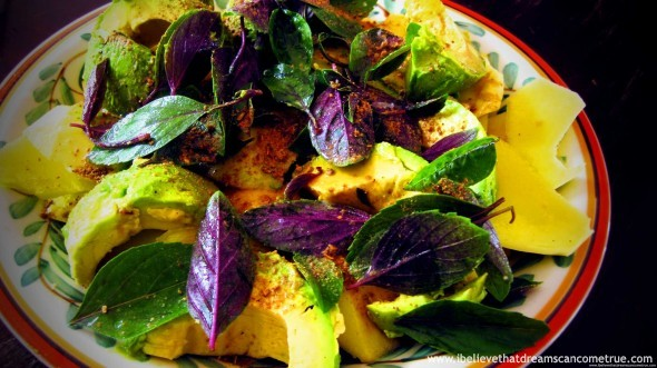 "Mango Avocado Salad with Basil and Pumpkin Seed Powder - a dish that became a ""comfort"""