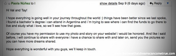 Paola's email about living her dreams