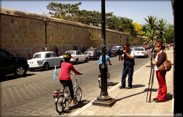 TV Azteca Oaxaca - filming us in action on our bicycles