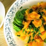 Mango avocado salad + fresh basil herbs from the garden